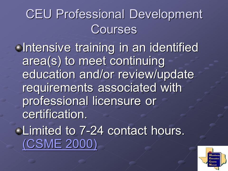 CEU Professional Development Courses