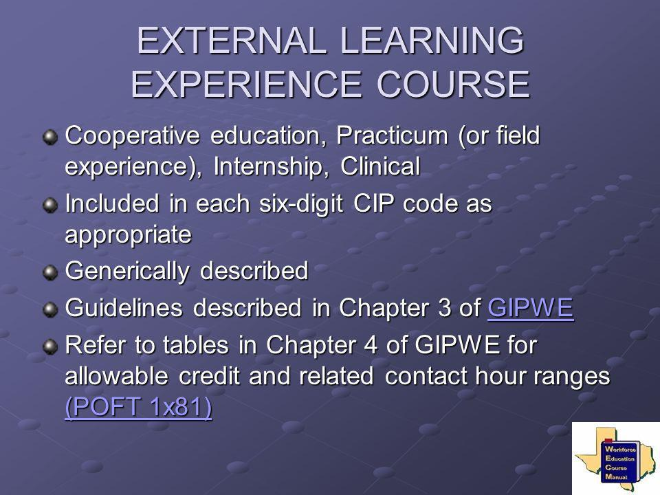 EXTERNAL LEARNING EXPERIENCE COURSE