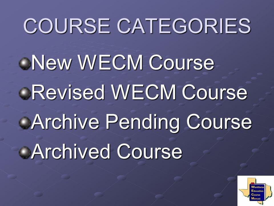 COURSE CATEGORIES New WECM Course Revised WECM Course Archive Pending Course Archived Course