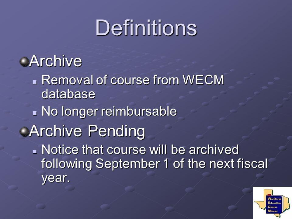 Definitions Archive Archive Pending
