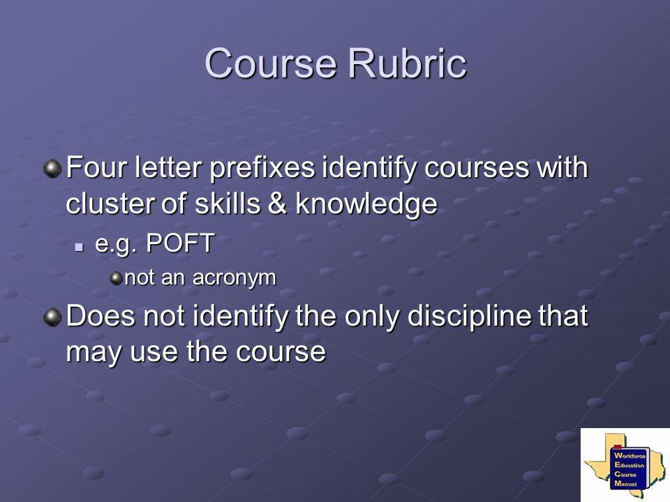 Course Rubric Four letter prefixes identify courses with cluster of skills & knowledge. e.g. POFT.