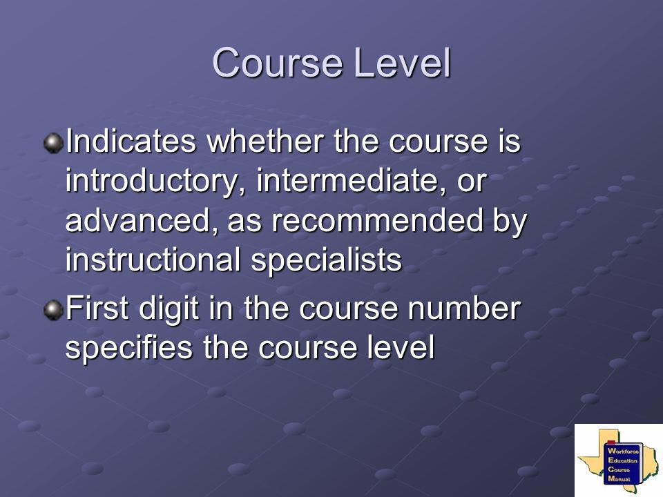 Course Level Indicates whether the course is introductory, intermediate, or advanced, as recommended by instructional specialists.