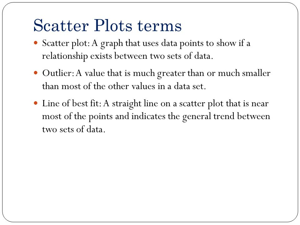 Scatter Plots terms Scatter plot: A graph that uses data points to show if a relationship exists between two sets of data.