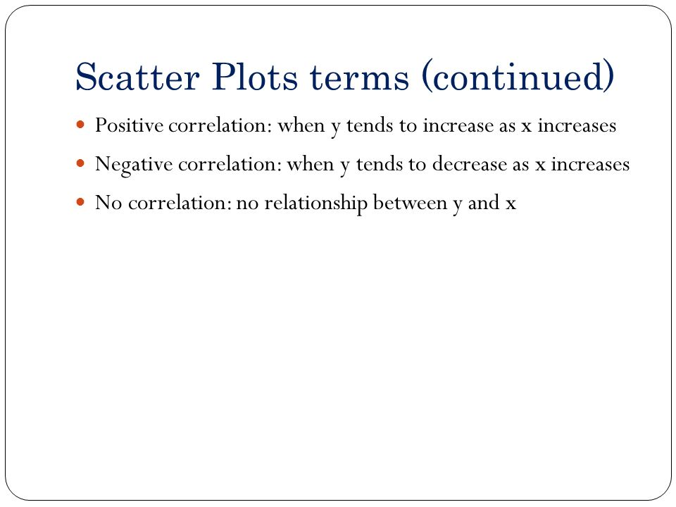 Scatter Plots terms (continued)