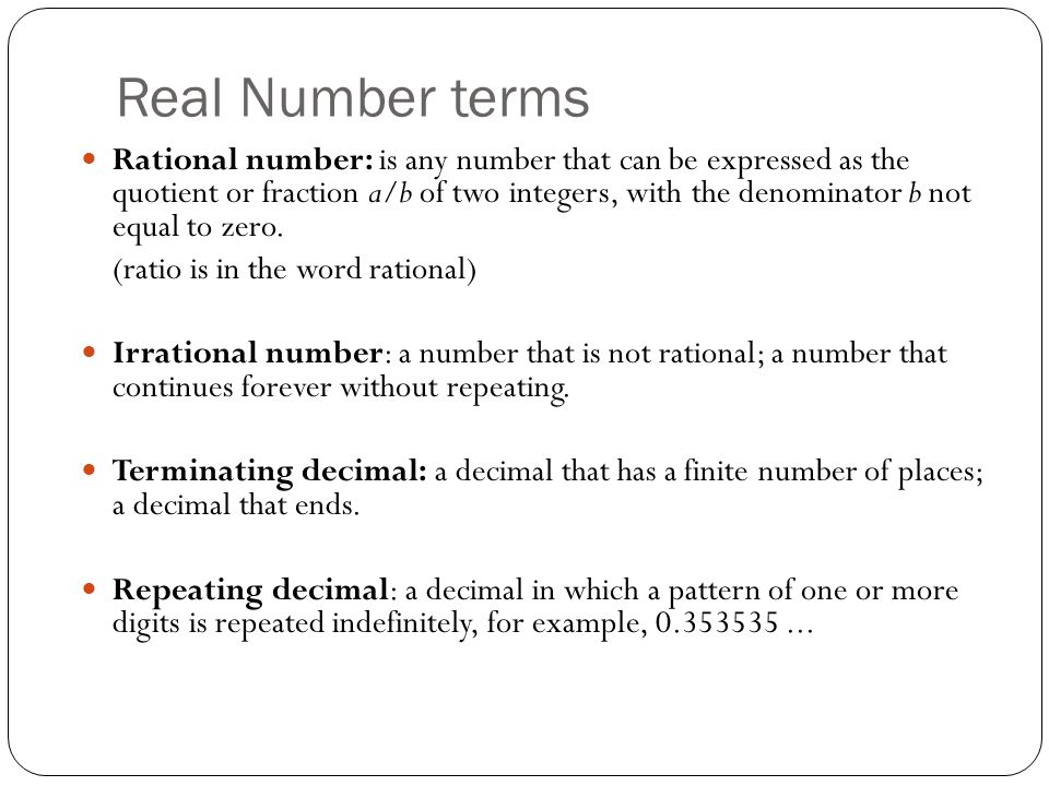 Real Number terms
