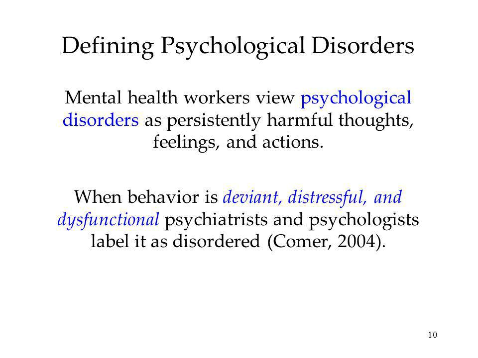 Defining Psychological Disorders