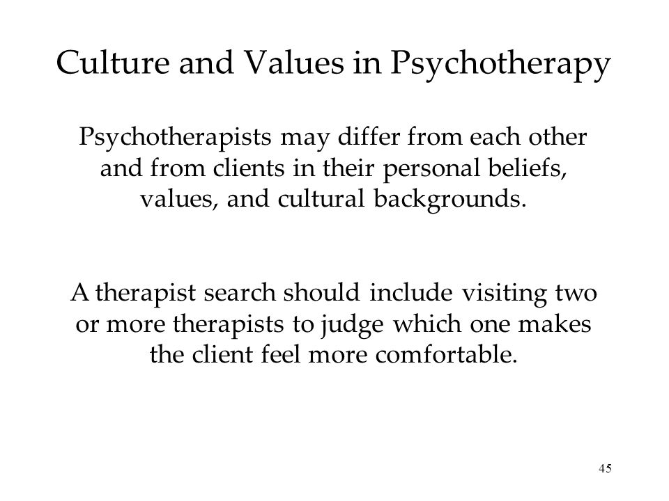 Culture and Values in Psychotherapy