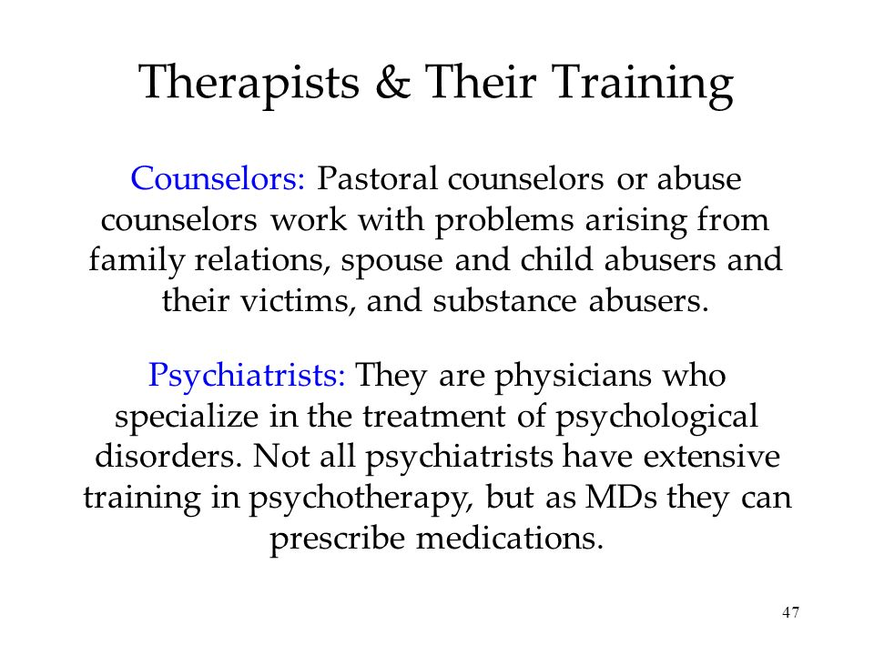 Therapists & Their Training