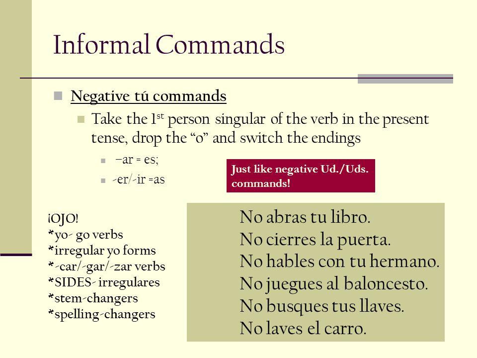 Informal Commands No abras tu libro.