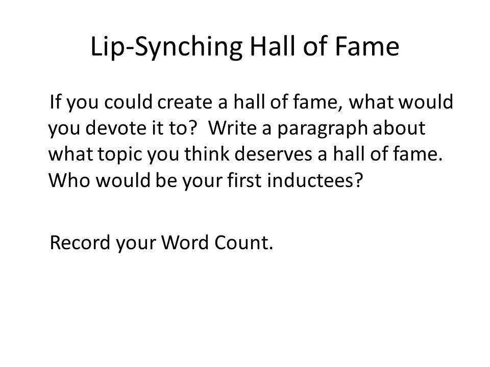 Lip-Synching Hall of Fame