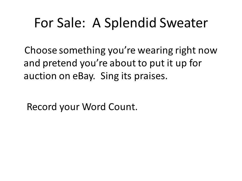 For Sale: A Splendid Sweater