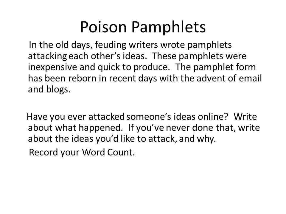 Poison Pamphlets