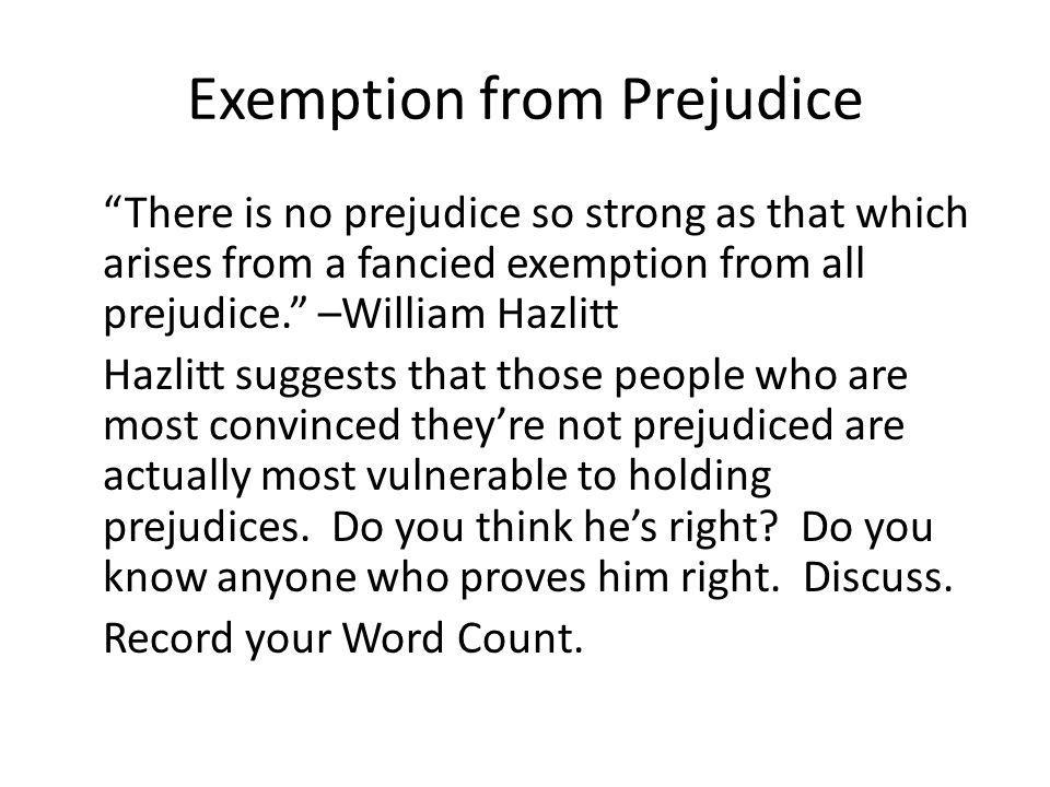 Exemption from Prejudice