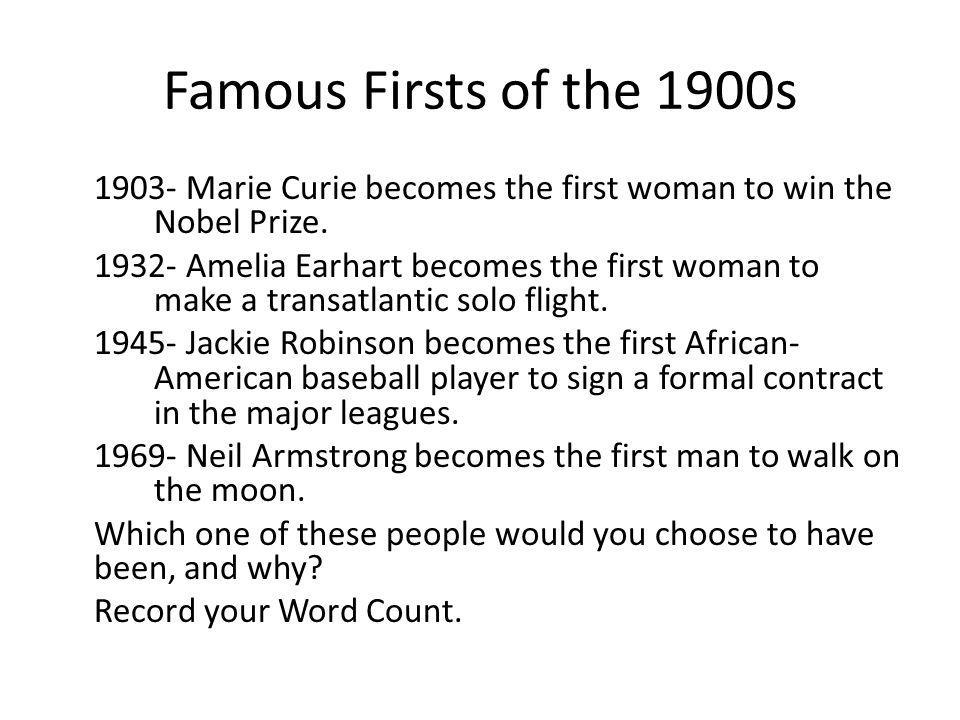 Famous Firsts of the 1900s