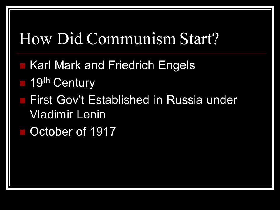 How Did Communism Start