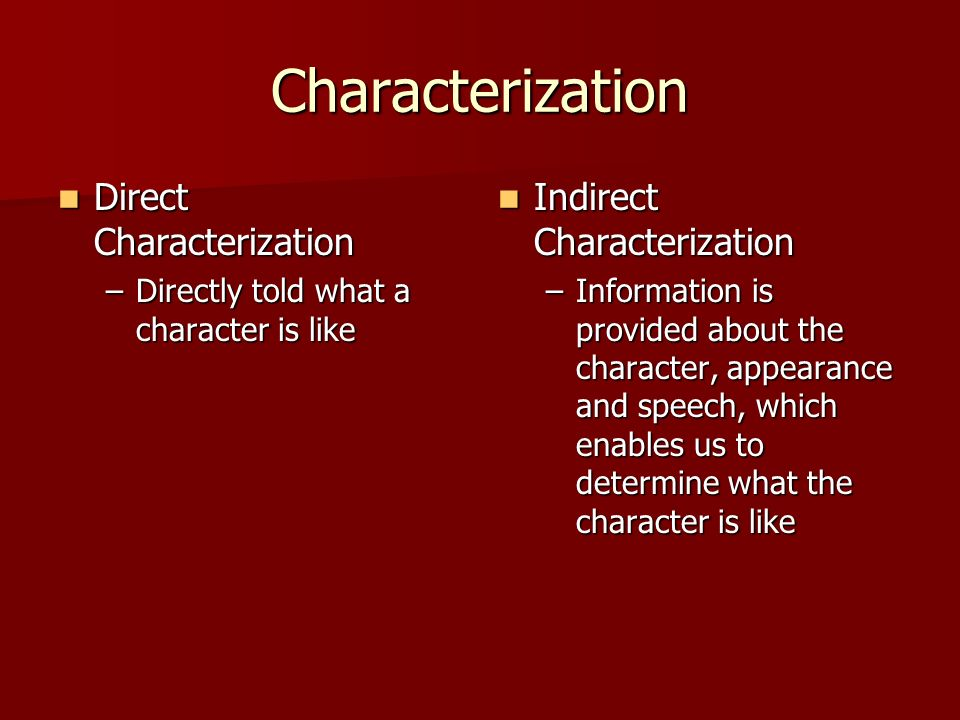 Characterization Direct Characterization Indirect Characterization