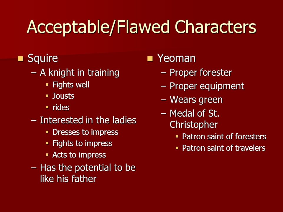 Acceptable/Flawed Characters