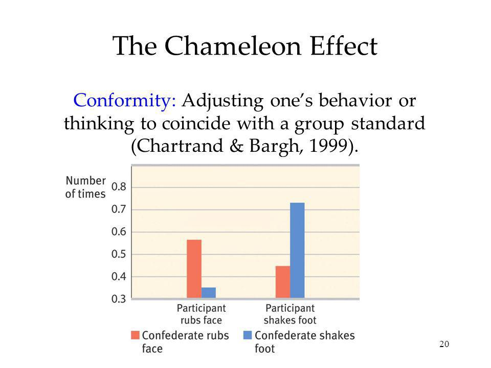 The Chameleon Effect Conformity: Adjusting one's behavior or thinking to coincide with a group standard (Chartrand & Bargh, 1999).