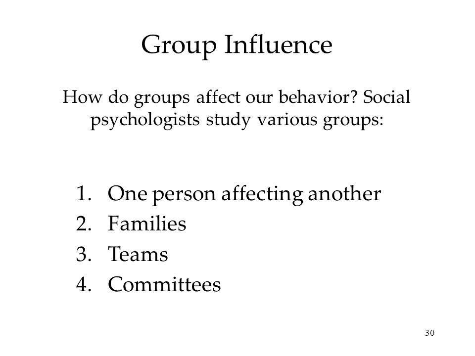 Group Influence One person affecting another Families Teams Committees