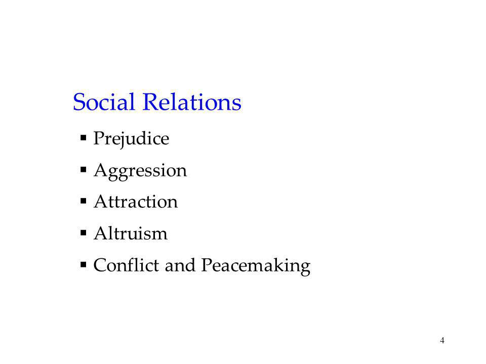 Social Relations Prejudice Aggression Attraction Altruism