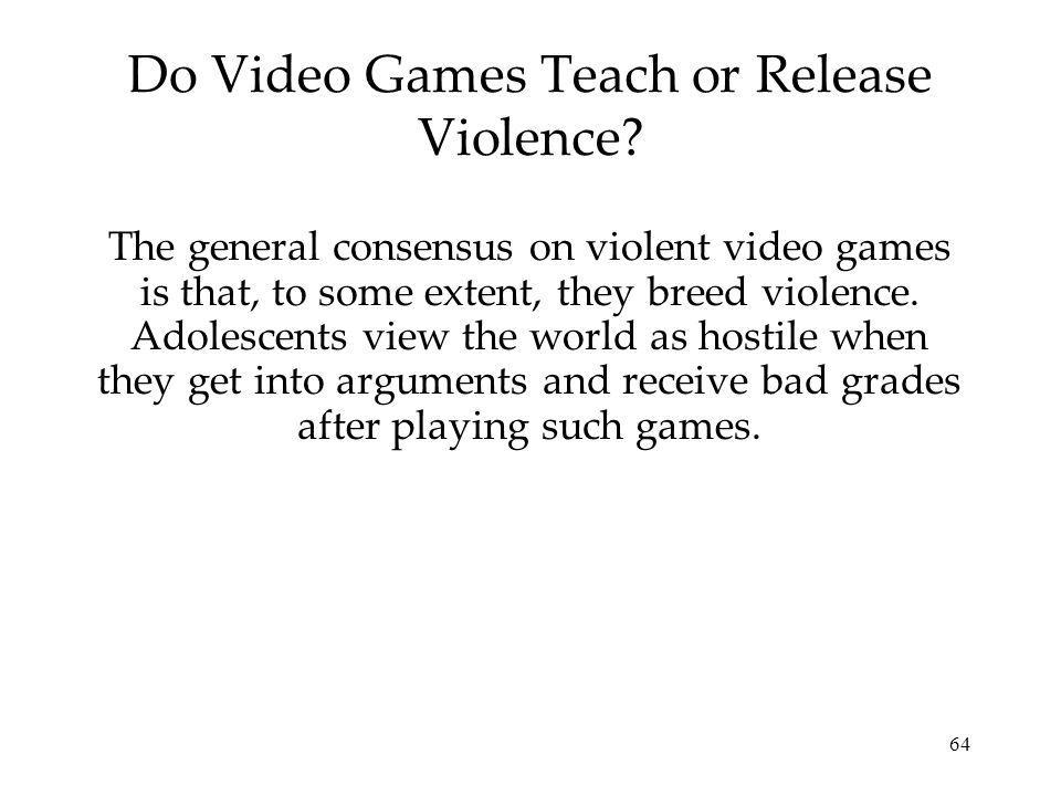 Do Video Games Teach or Release Violence