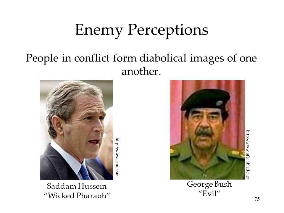 People in conflict form diabolical images of one another.