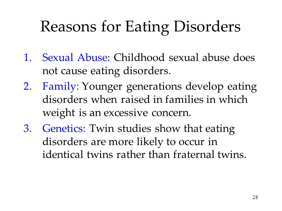 Reasons for Eating Disorders