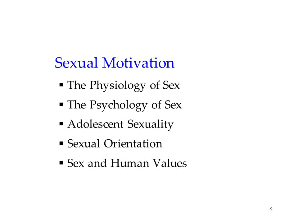 Sexual Motivation The Physiology of Sex The Psychology of Sex