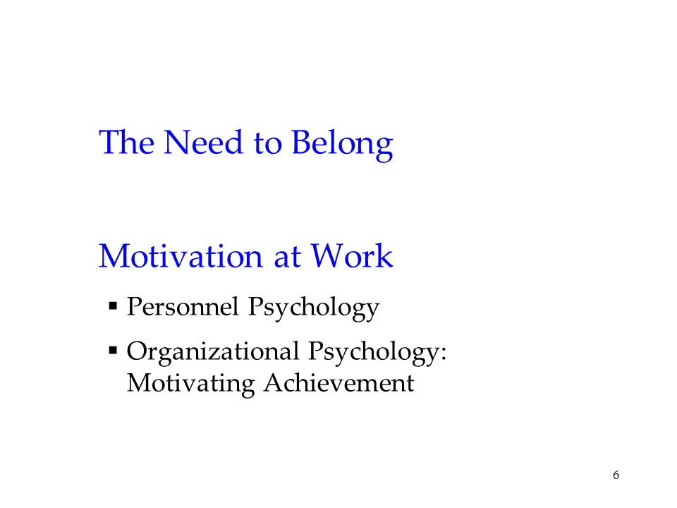 The Need to Belong Motivation at Work Personnel Psychology