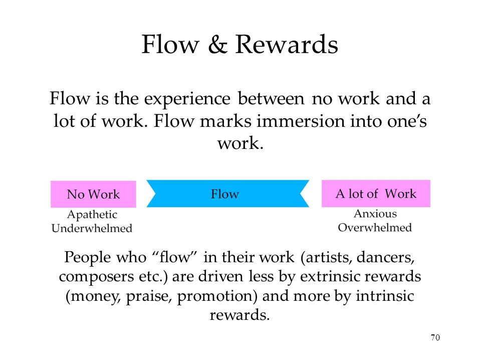 Flow & Rewards Flow is the experience between no work and a lot of work. Flow marks immersion into one's work.