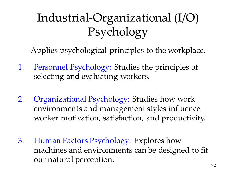 Industrial-Organizational (I/O) Psychology