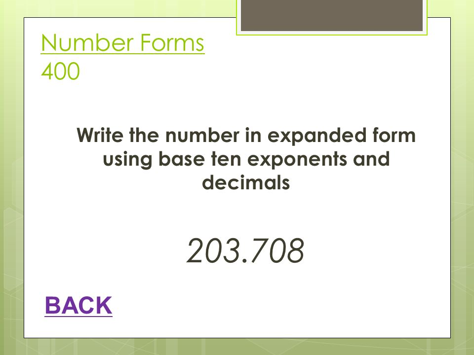 write numbers in expanded form using powers of 10 In expanded form: 1000 which equals  (note that the  scientific notation is a  way to write very large numbers and very small numbers (where the first  significant digit is  multiplied using the rules for multiplying & dividing by powers  of 10 a.