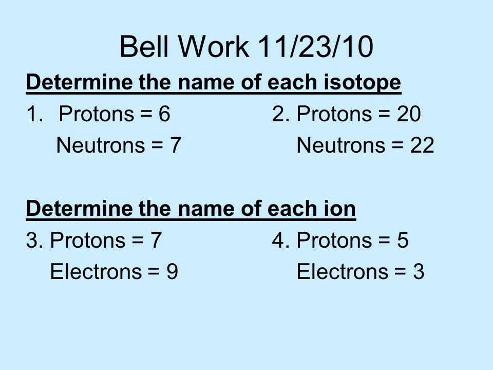 Bell Work 11/23/10 Determine the name of each isotope