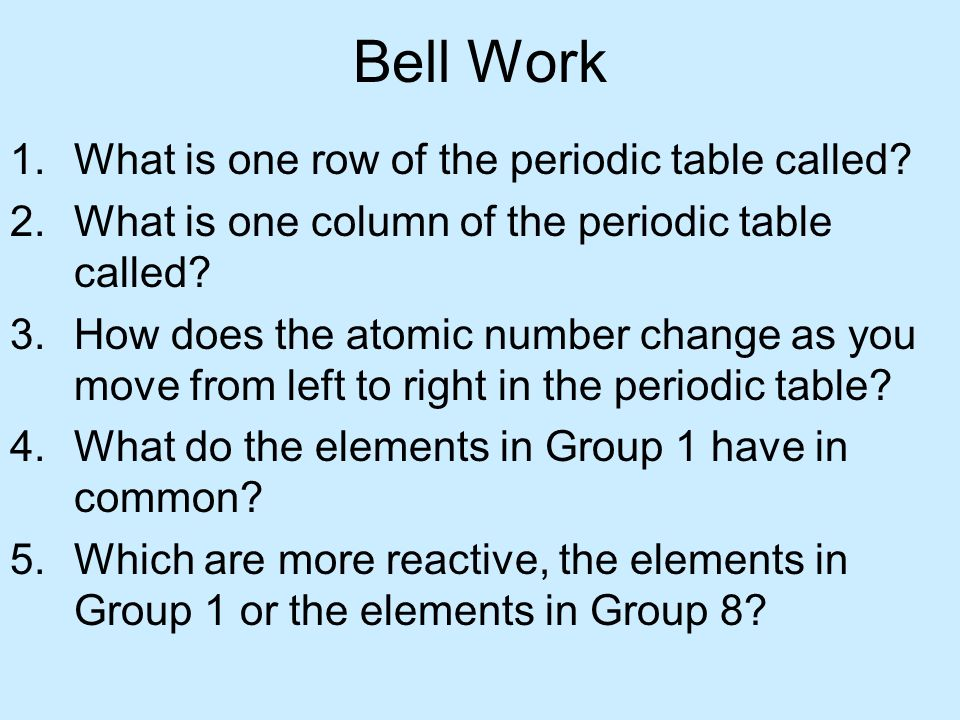 Bell Work What is one row of the periodic table called