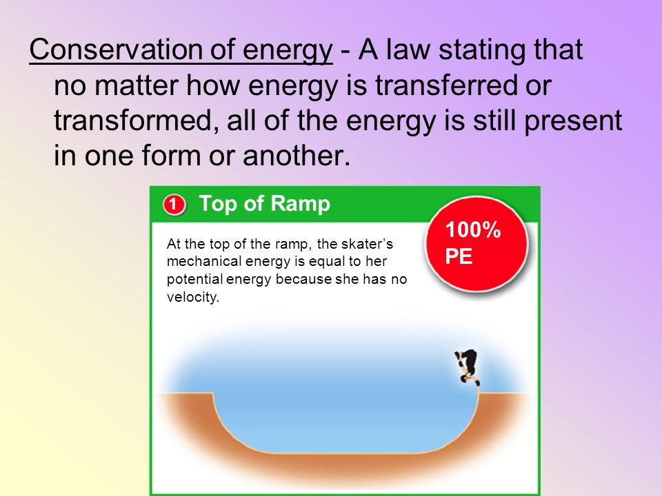 Conservation of energy - A law stating that no matter how energy is transferred or transformed, all of the energy is still present in one form or another.