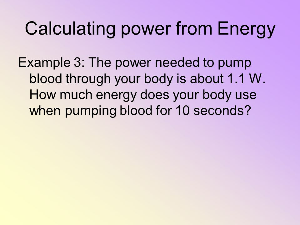 Calculating power from Energy