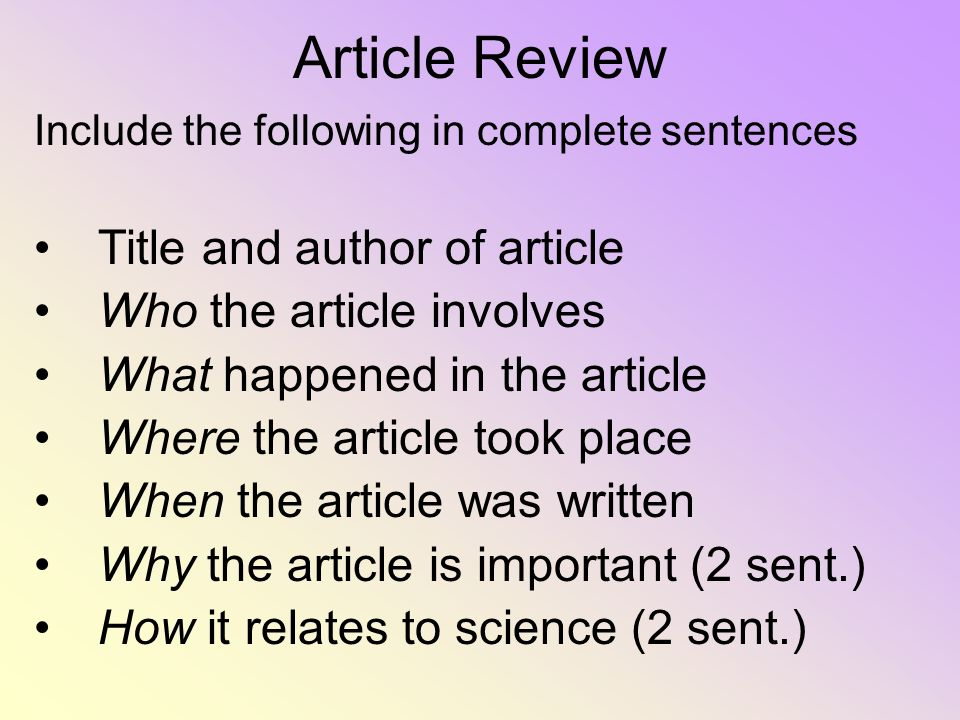 Article Review Title and author of article Who the article involves
