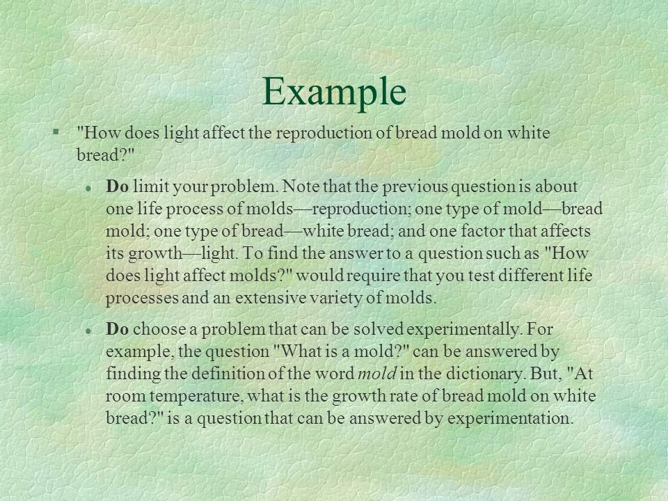 Example How does light affect the reproduction of bread mold on white bread