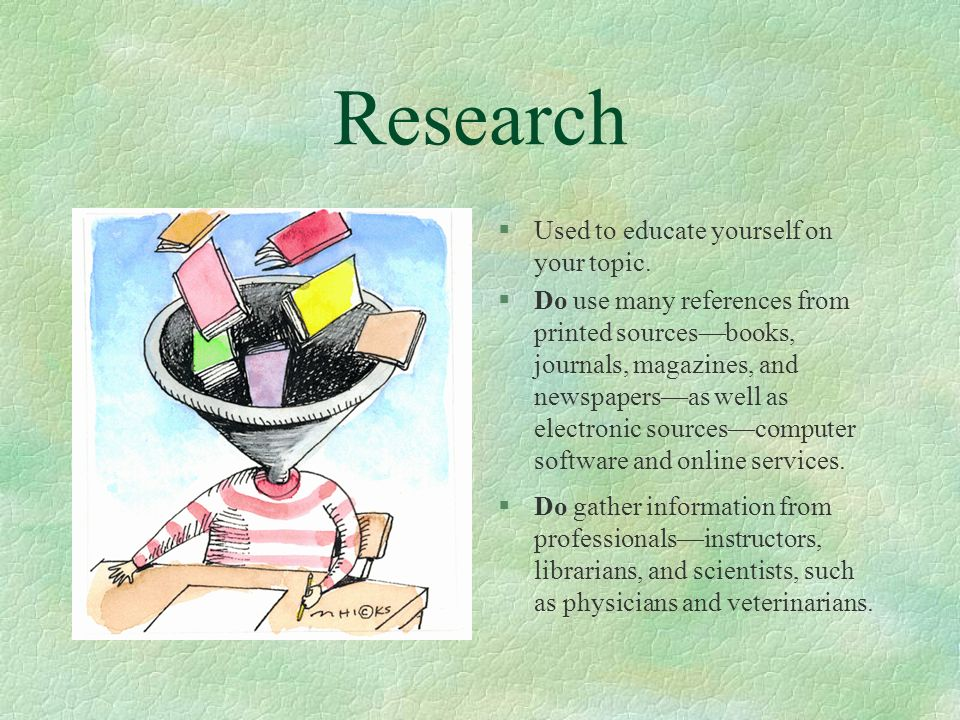 Research Used to educate yourself on your topic.