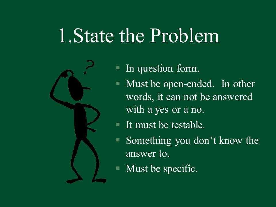 1.State the Problem In question form.