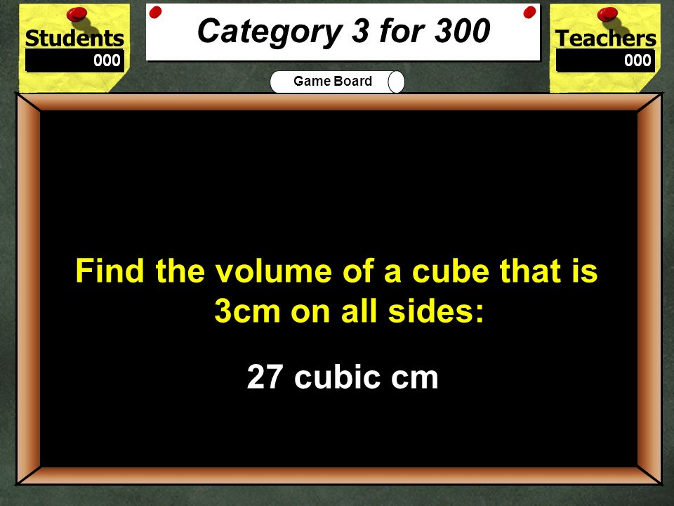 Find the volume of a cube that is 3cm on all sides: