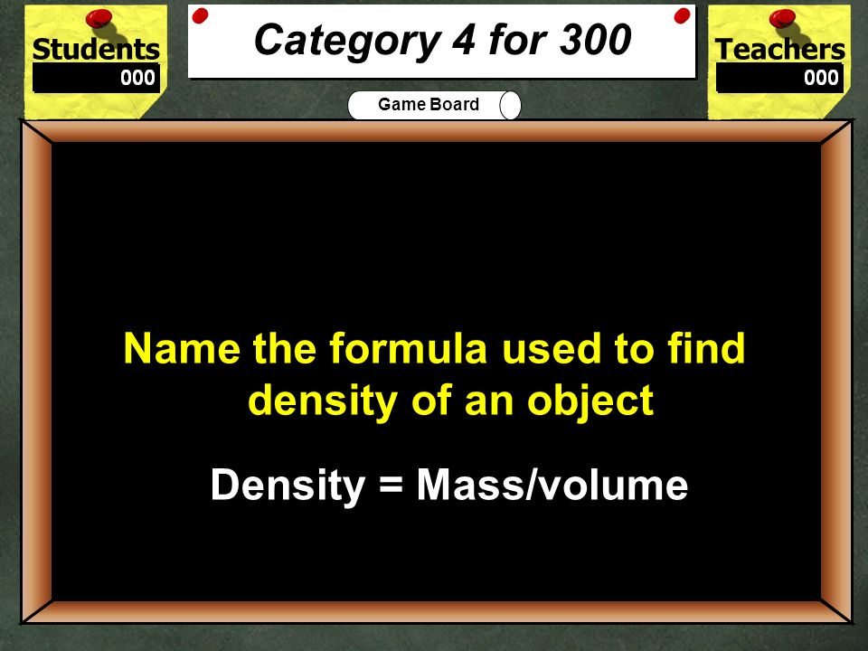Name the formula used to find density of an object