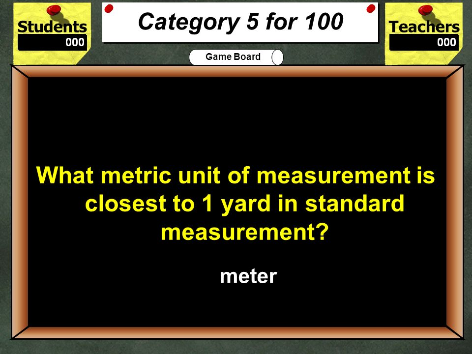 Category 5 for 100 What metric unit of measurement is closest to 1 yard in standard measurement 100.