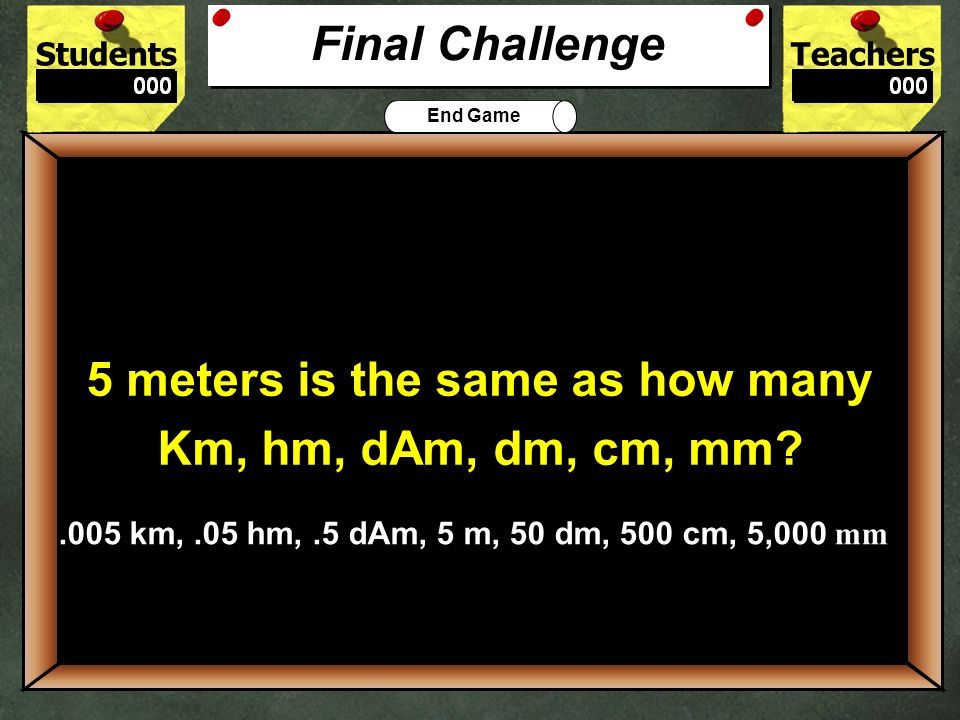 5 meters is the same as how many