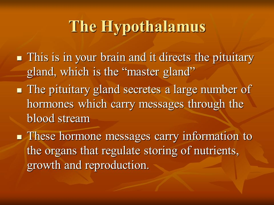 The Hypothalamus This is in your brain and it directs the pituitary gland, which is the master gland