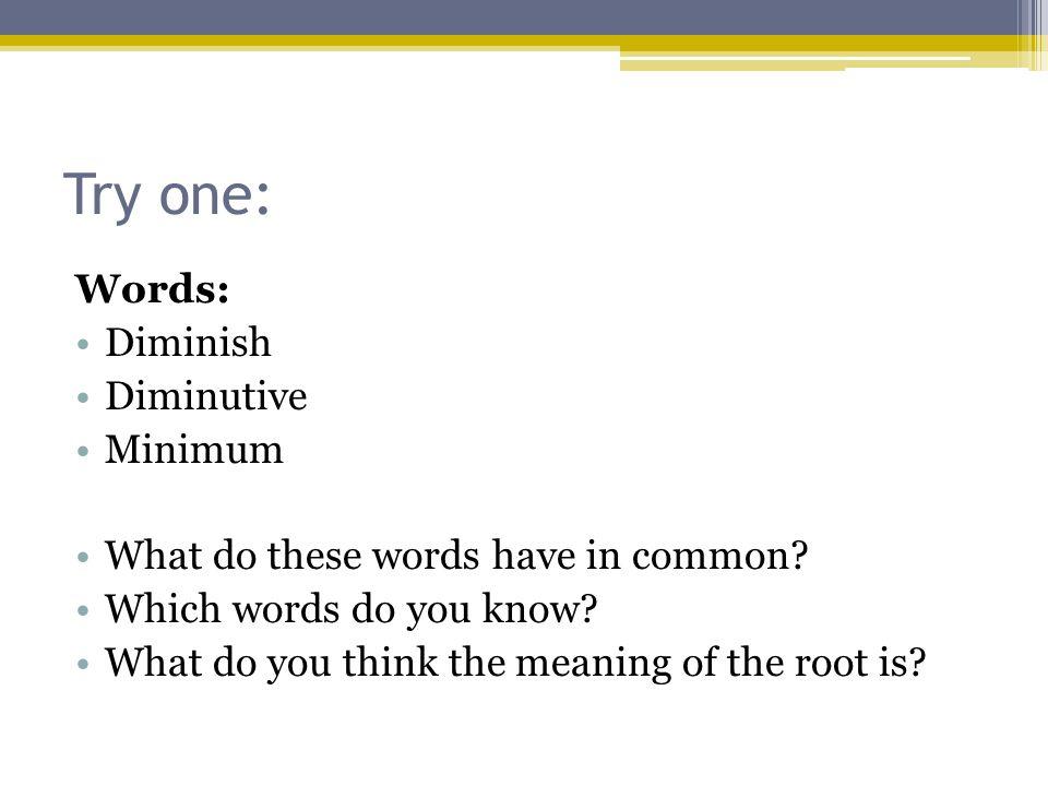 Try one: Words: Diminish Diminutive Minimum