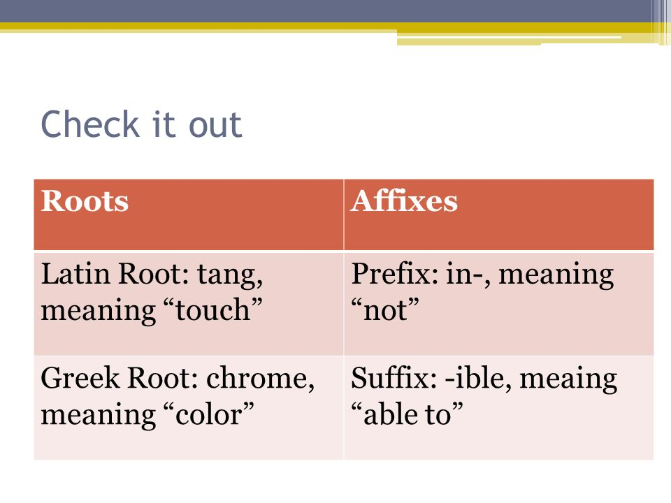 Check it out Roots Affixes Latin Root: tang, meaning touch