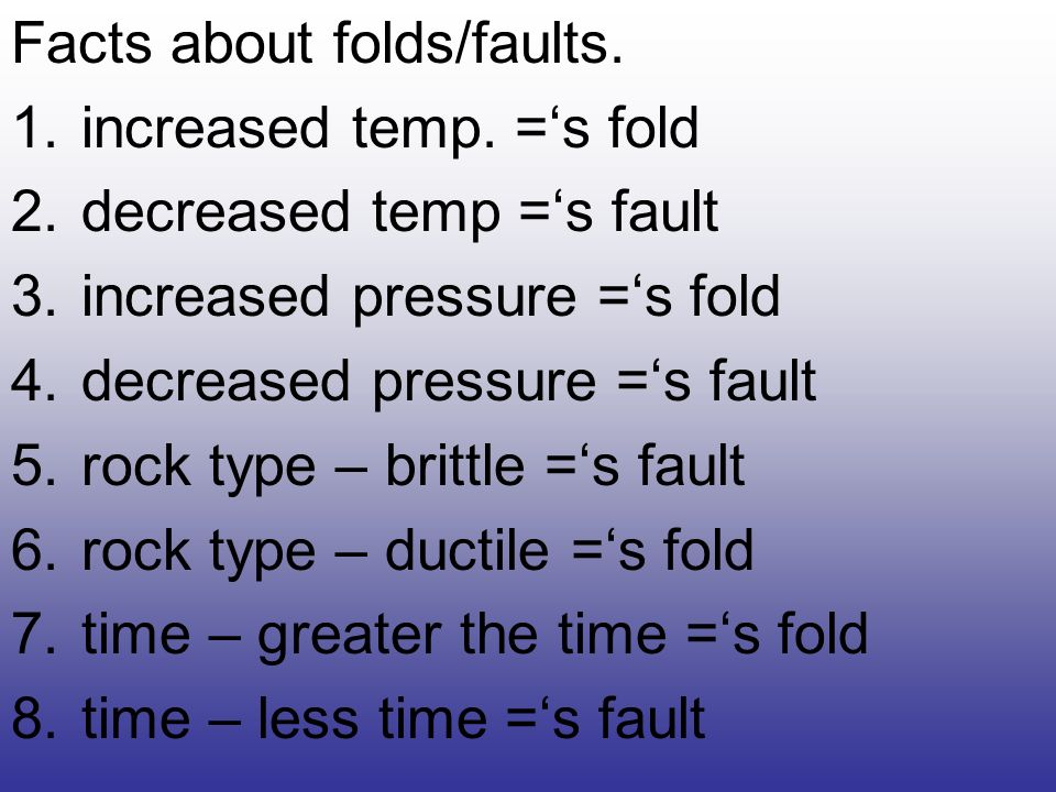 Facts about folds/faults.