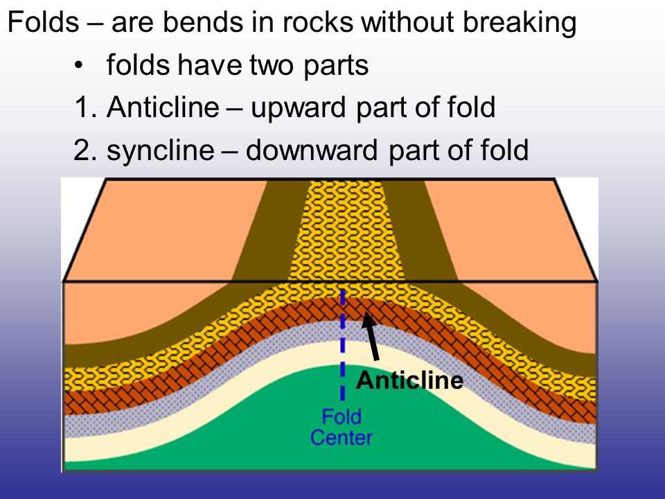 Folds – are bends in rocks without breaking folds have two parts