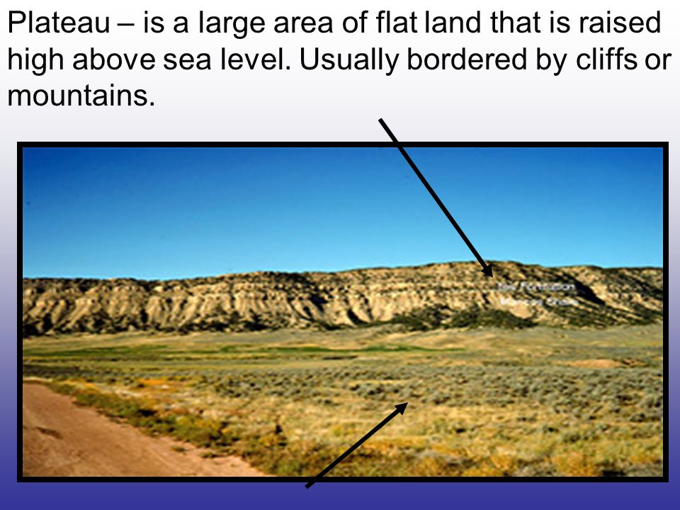 Plateau – is a large area of flat land that is raised high above sea level.